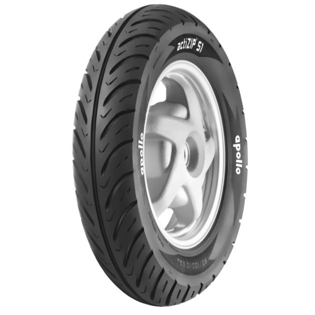 Apollo ACTIZIP S1 TL 90/100 10 Tubeless Front/Rear Two-Wheeler Tyre