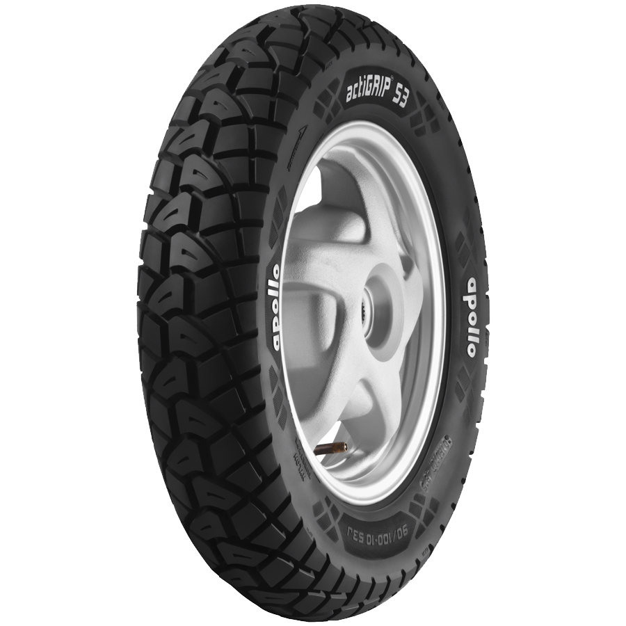 Apollo ACTIGRIP S3 90/100 R 10 Requires Tube   Front/Rear Two-Wheeler Tyre