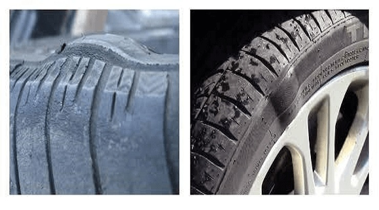 What causes bubbles in tyres?